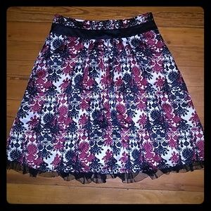 Worthington chandelier print skirt w lace sz 16